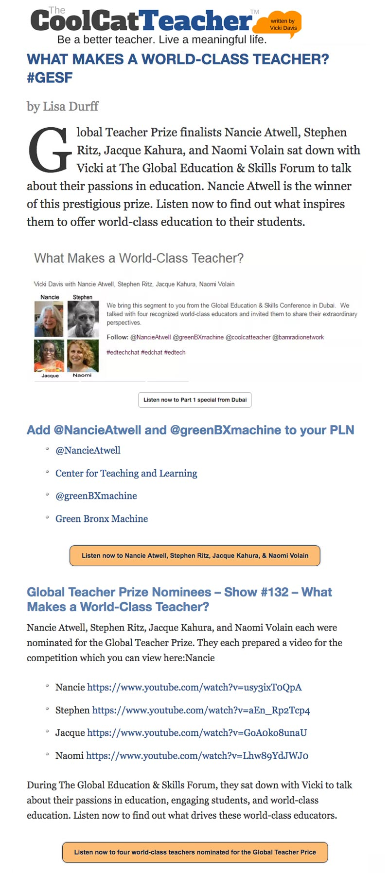 Cool Cat Teacher - What Makes A World-Class Teacher?