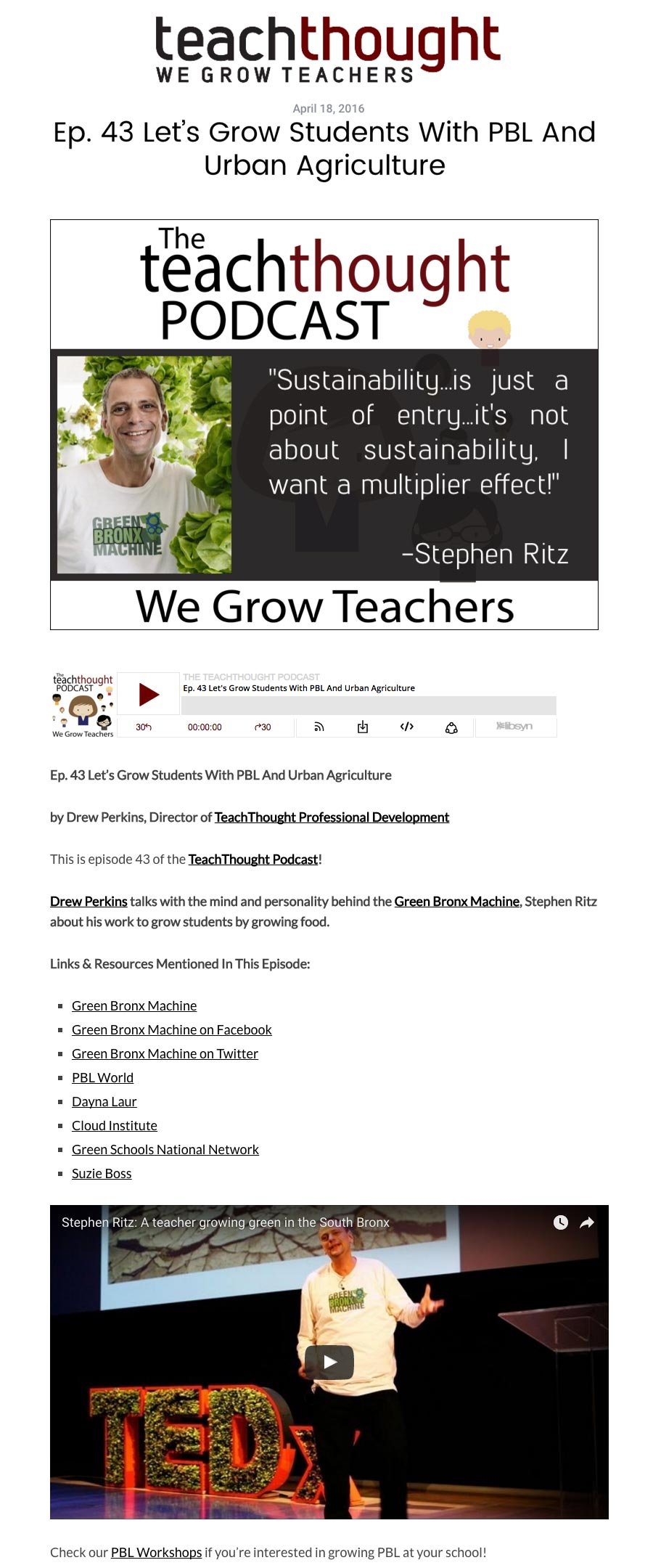 Teach Thought - Let's Grow Students With PBL And Urban Agriculture