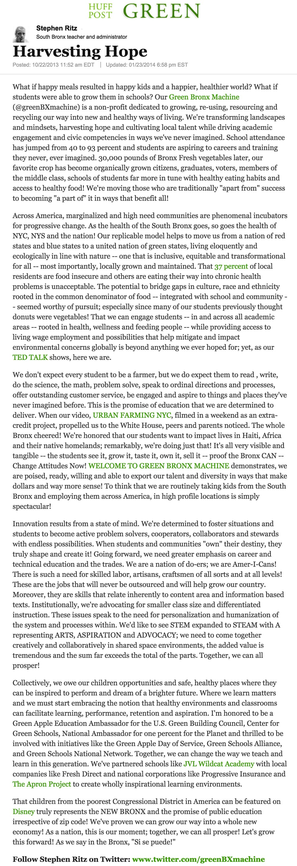 The Huffington Post - Harvesting Hope by Stephen Ritz