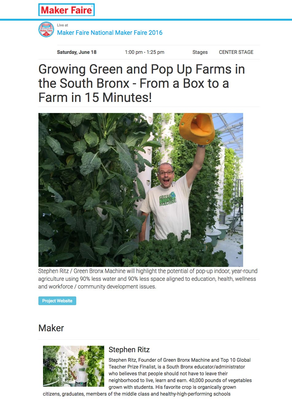 Maker Faire - Growing Green and Pop Up Farms in the South Bronx - From a Box to a Farm in 15 Minutes!