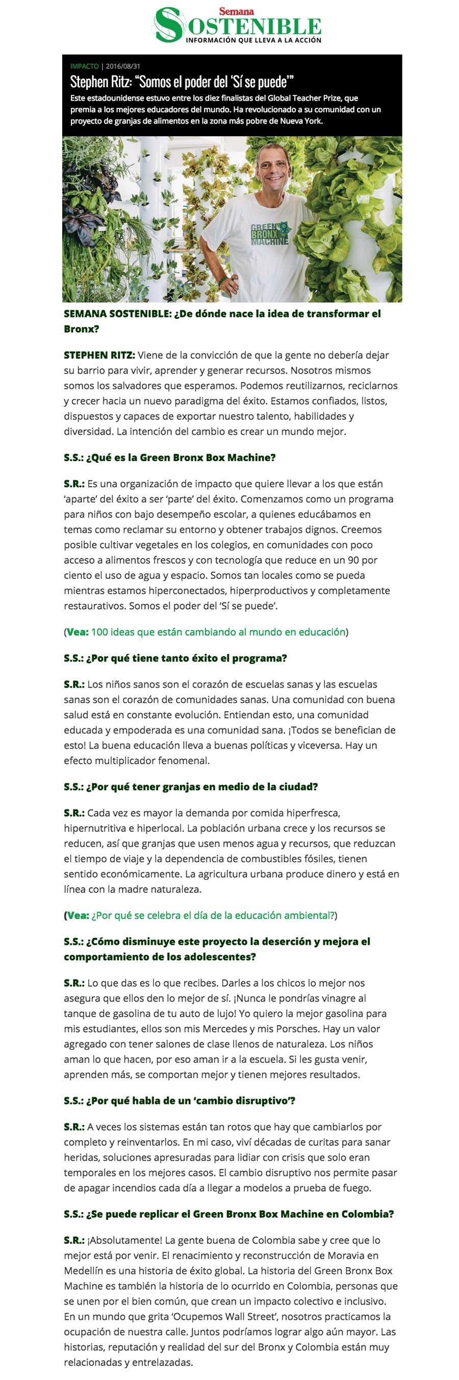 """Semana Sostenible - Stephen Ritz: """"Somos el poder del 'Sí se puede'"""""""
