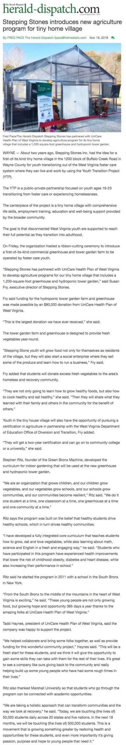 2019-11-16-stepping-stones-herald-dispatch-news-stepping-stones-introduces-new-agriculture-program-for-tiny-home-village-article-9c0933d9-6aab-508d-a29e-de2e1c7d2a4d-html