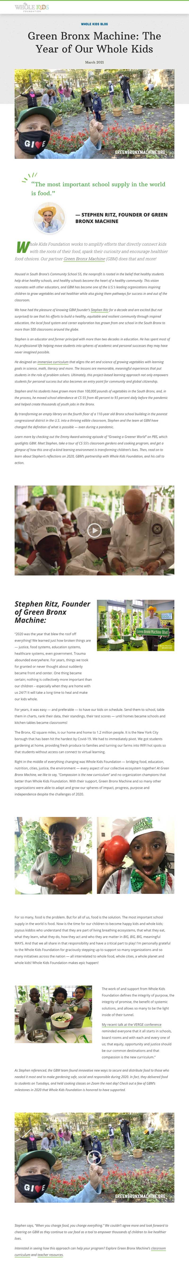 Whole Kids Foundation – Green Bronx Machine
